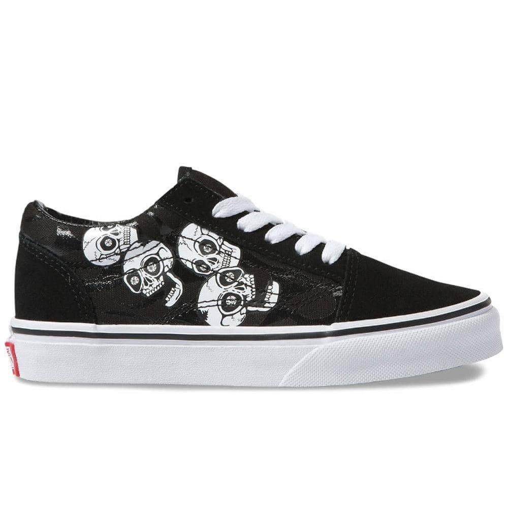 Vans Kids Old Skool Skate Shoes (Glossy Flame) Skulls Black Boys Skate Shoes by Vans