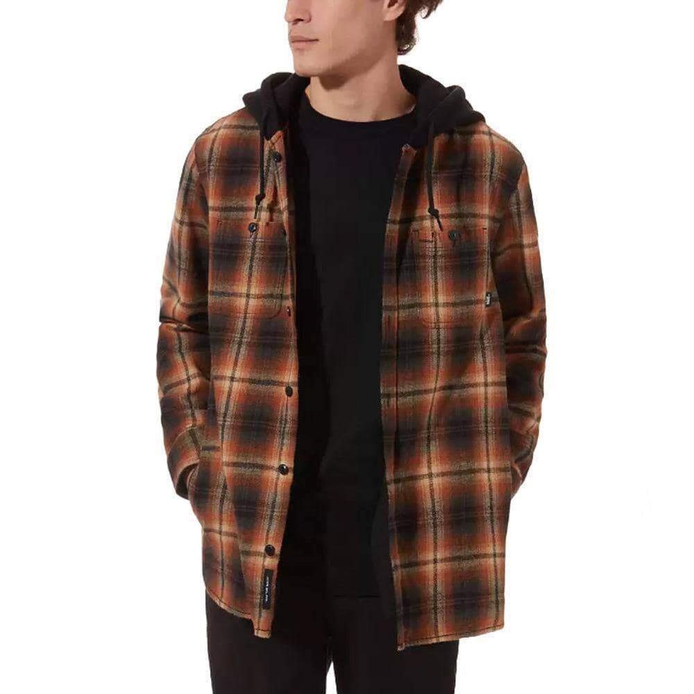 Vans Lopes Buttondown Flannel Hoodie Shirt - Khaki Mens Flannel Shirt by Vans