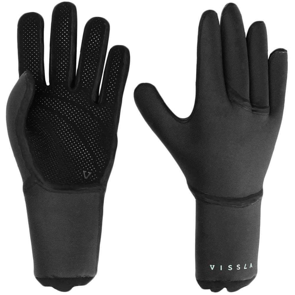 Vissla Seven Seas 3mm Wetsuit Gloves in Black 5 Finger Wetsuit Gloves by Vissla