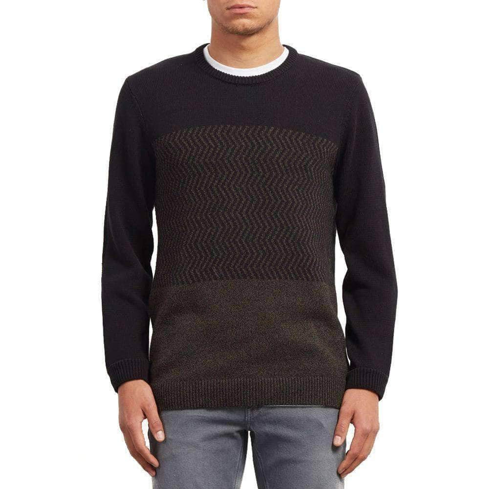 Volcom Barrio Crew Update Knit Sweater - Black Mens Knitwear by Volcom