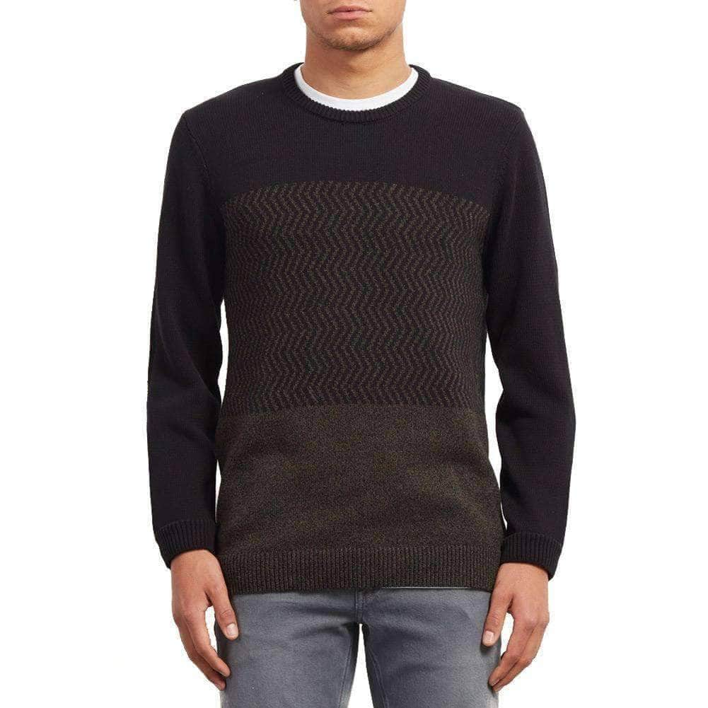 Volcom Mens Knitwear Volcom Barrio Crew Update Knit Sweater - Black