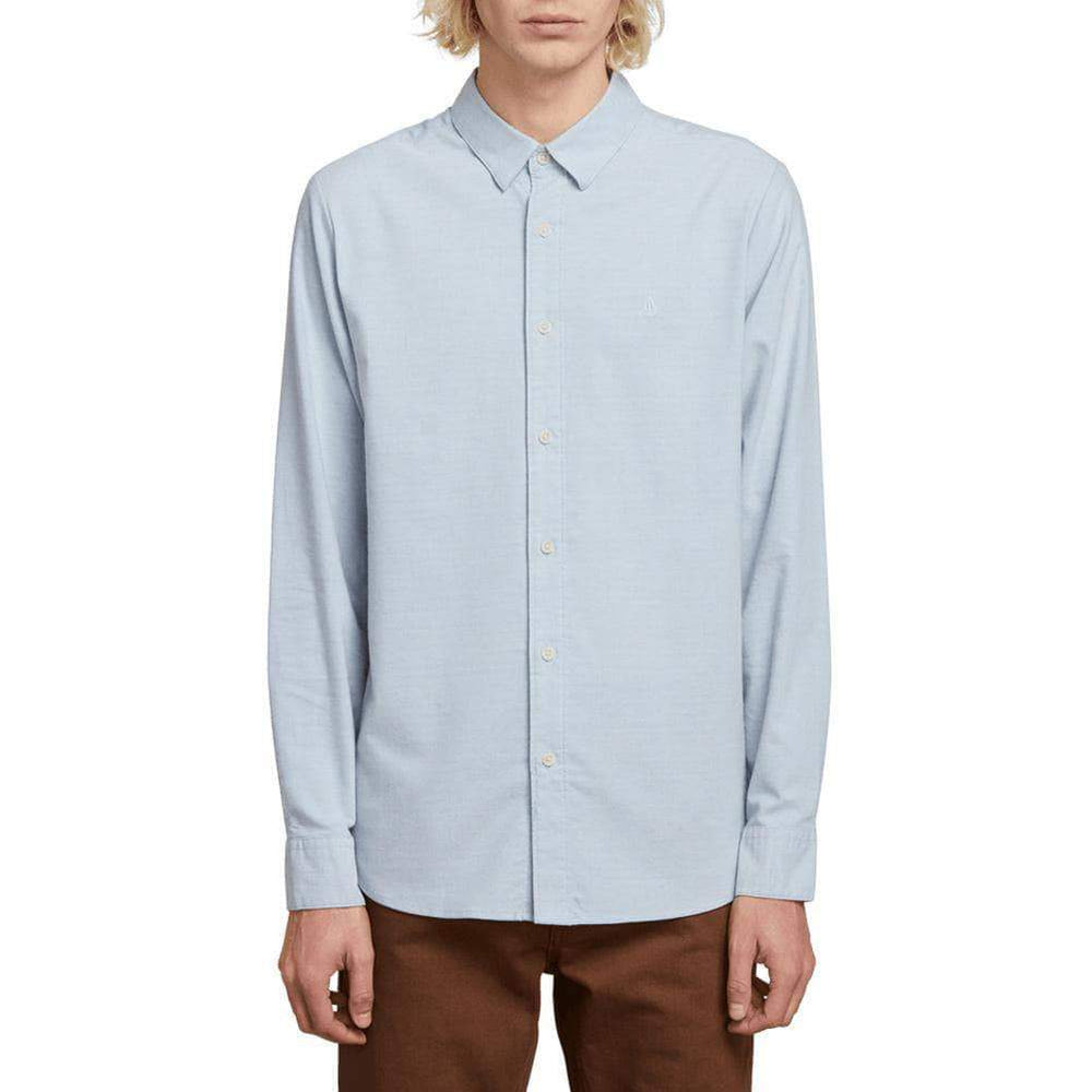 Volcom Oxford Stretch L/S Shirt - Wrecked Indigo Mens Casual Shirt by Volcom XS (extra small)