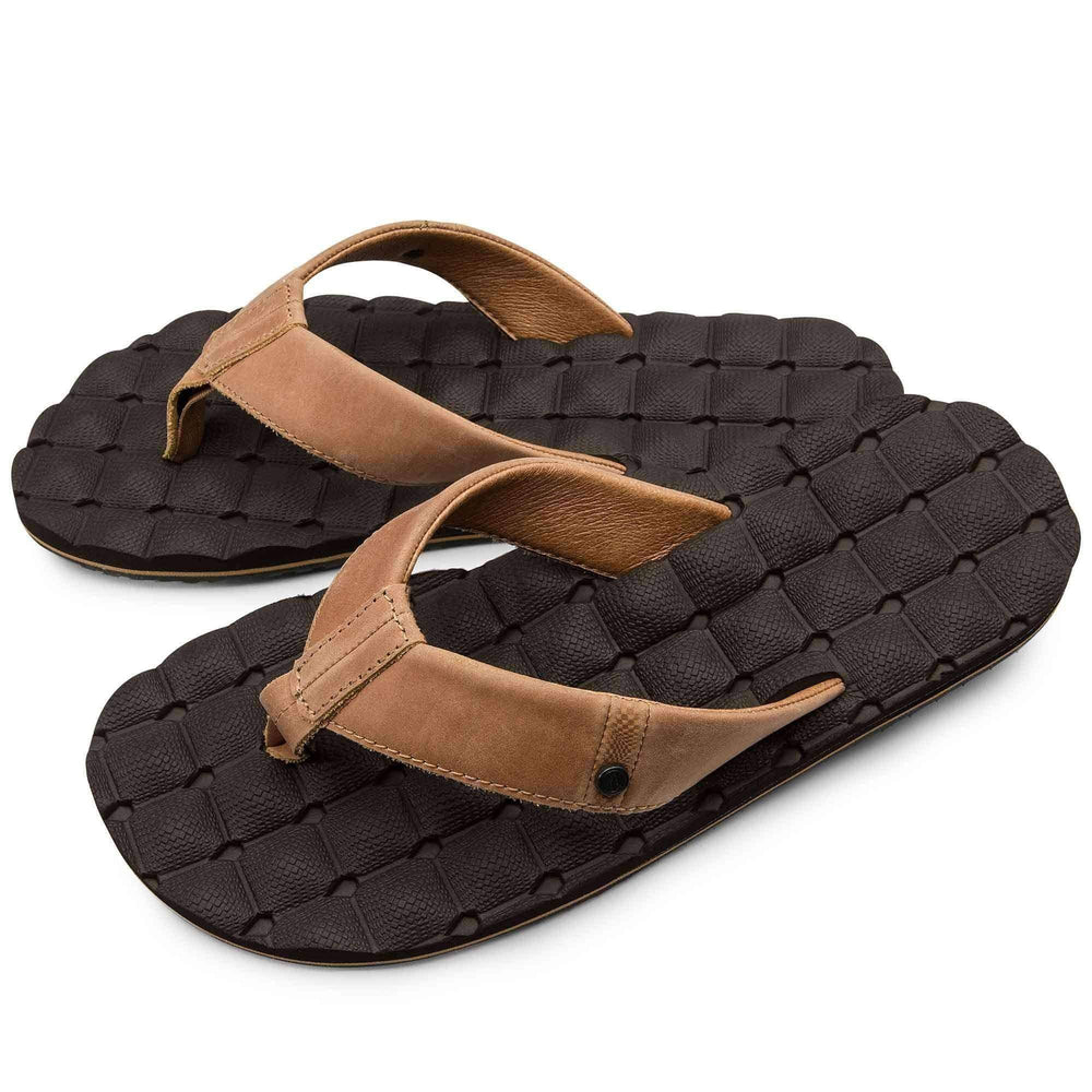 Volcom Recliner Leather Sandals in Brown Combo Mens Flip Flops by Volcom