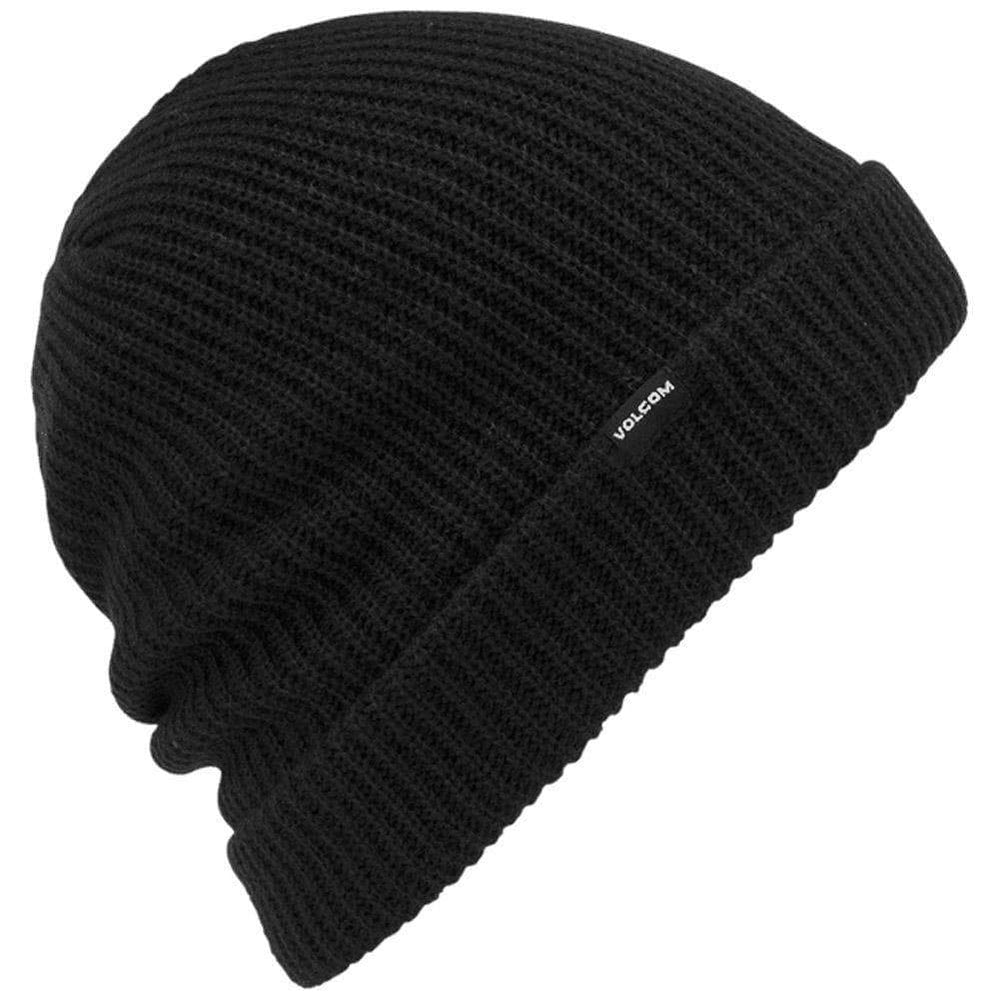Volcom Fold Beanie Hat Volcom Snow Sweep Lined Beanie Black O/S (one size)