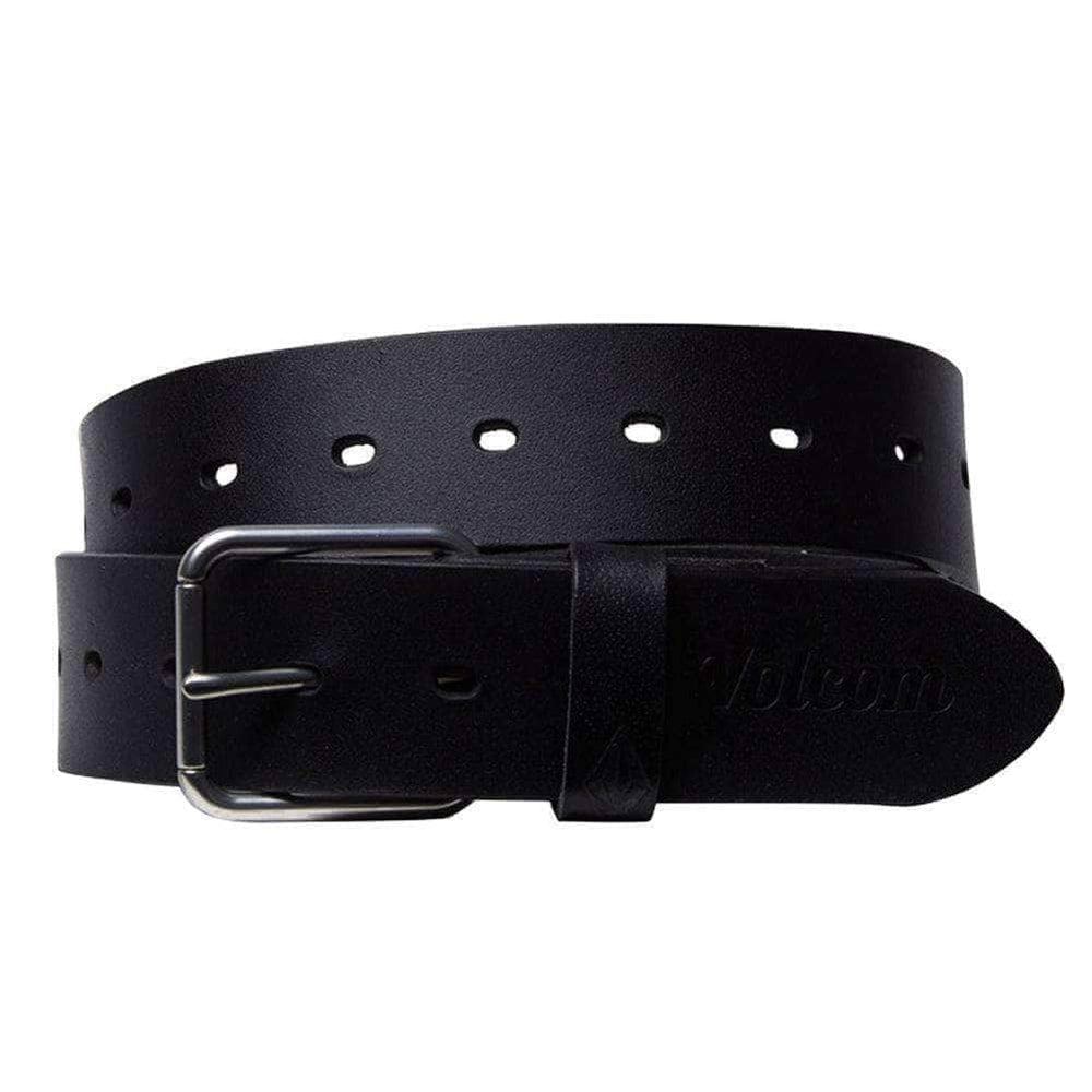 Volcom Strangler Leather Belt - Black Mens Leather Belt by Volcom
