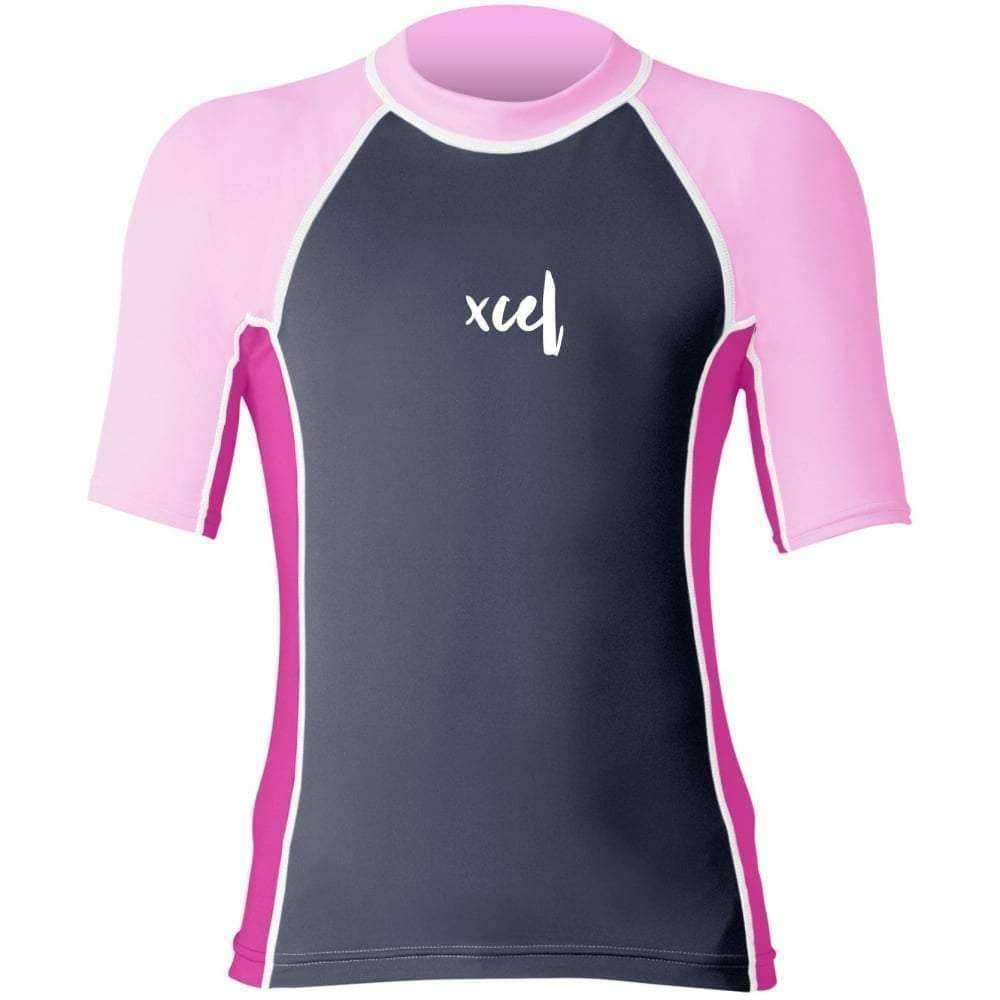 Xcel Girls Laguna S/S UV Rashvest Shirt in Gunmetal/Pink Kids Rash Vest by Xcel