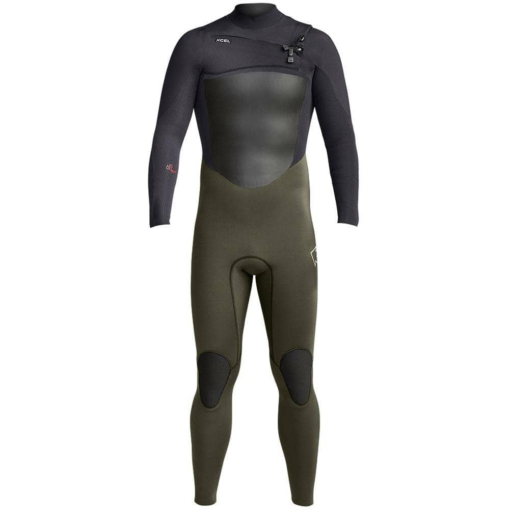 Xcel Mens Full Length Wetsuit Xcel Mens 4/3mm Infiniti Chest Zip 2019 Wetsuit Dark Forest Black