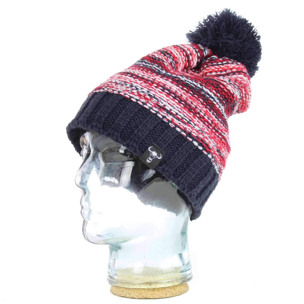 Yakwax Pom Beanie Hat Yakwax Slope Style Pom Beanie in Navy/Red