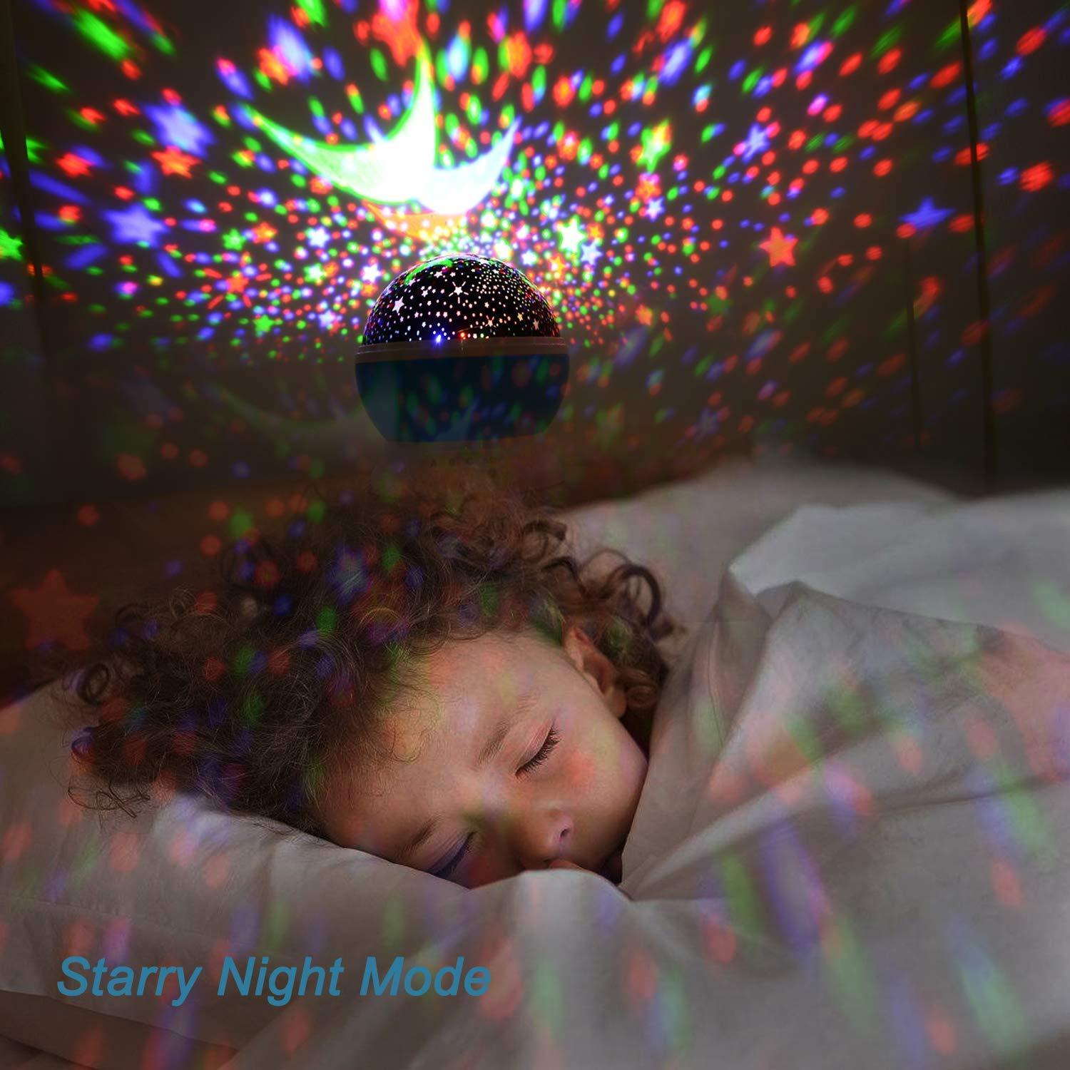 50% OFF | Best Baby Gift For Bedroom 360 Degree Rotation Starry Sky Night Light Projector With USB Cable