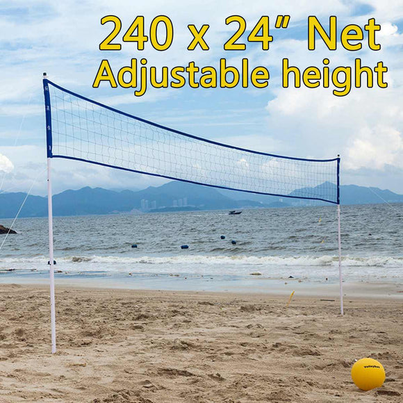 Beach Volleyball Net Set 61x610cm Portable Beach Volleyball Set Professional Sleeve Net Outdoor Volleyball Training Competition