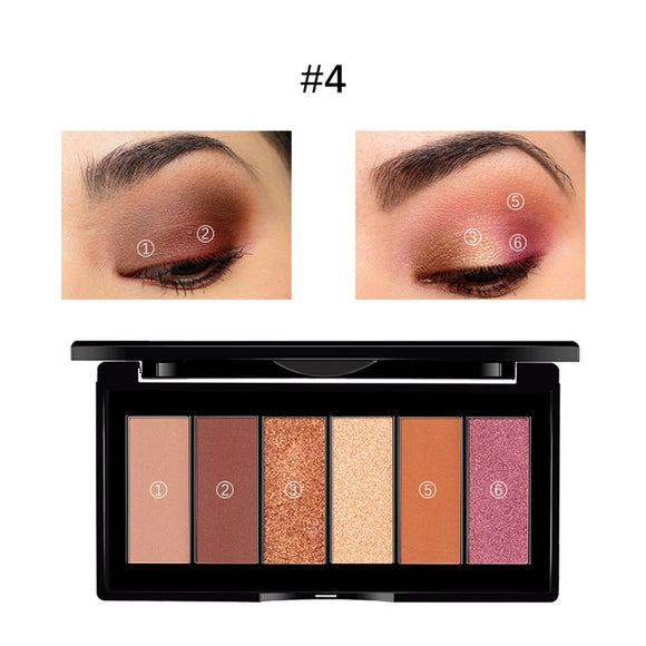 6 Colors Eye Shadow Powder Disc Pearlescent and Matte Easy Wearing Eye Makeup Eyeshadow Palette Cosmetics Women Beauty