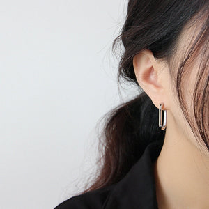 Les boucles d'oreilles rectangle or ou argent