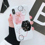 Funny Geometry Splice Pattern Retro Cover Marble Phone Case For iphone X Case For iphone 6S 6plus 7 7plus 8 8plus X