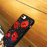 "Cute Sexy Red Lips ""Love"" Bling Glitter for Iphone 6 6s plus 7 7plus 8 8plus X"