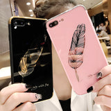 Fashion Mirror Feathers Phone Case for iphone 6 6Splus  7 7plus 8 8plus X