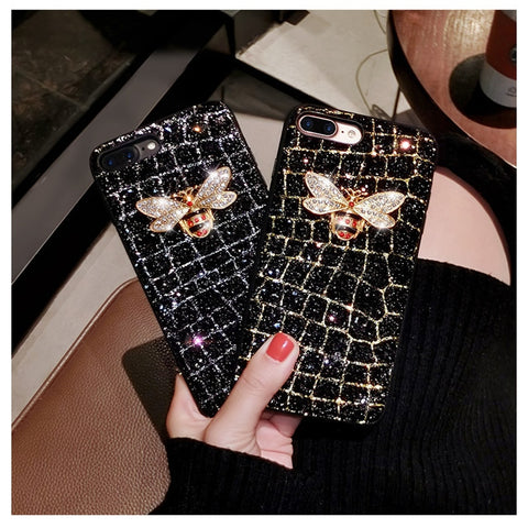 Leather 3D Metal Bee Pearl Phone Cases For iphone 6s 6plus 7 7plus 8 8plus X XR XS MAX