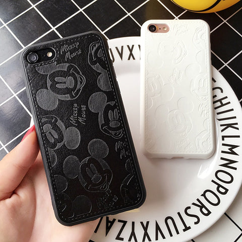 Cute 3D Texture leather Cartoon Mouse Soft for Iphone 6 6s 6plus 7 8 plus cover for iphone 10 X