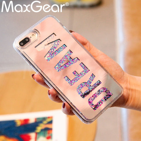 Dream Mirror Glitter Dynamic Liquid Quicksand Phone Case For Iphone 6 6s plus 7 7plus 8 8plus X