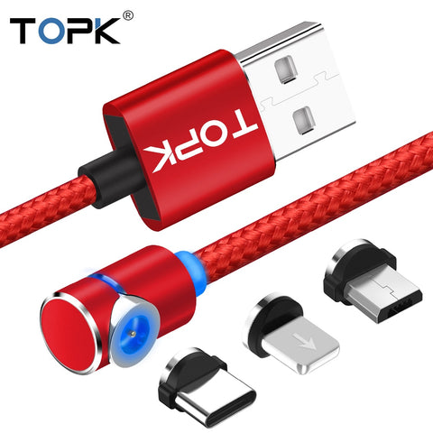 TOPK L-Line Magnetic Charging Cable ,90 Degree LED Cable for iPhone X 8 7 6 Plus & Micro USB Cable & USB Type-C USB C Cable
