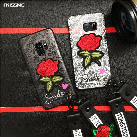 Smile Rose Phone Cases For Samsung Galaxy S6 S7 S8  S9 A8 Plus Note 8