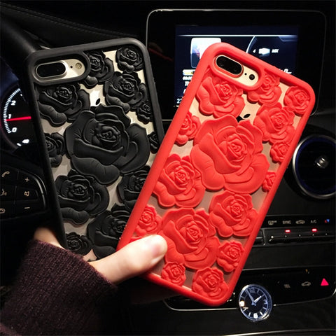 Luxury 3D Rose Flower Hollow Soft Silicone Phone Case For Samsung Galaxy S6 S7 Edge S8 S9 PIus Note 8  Iphone 6s 6Plus 7 7Plus 8 8Plus X