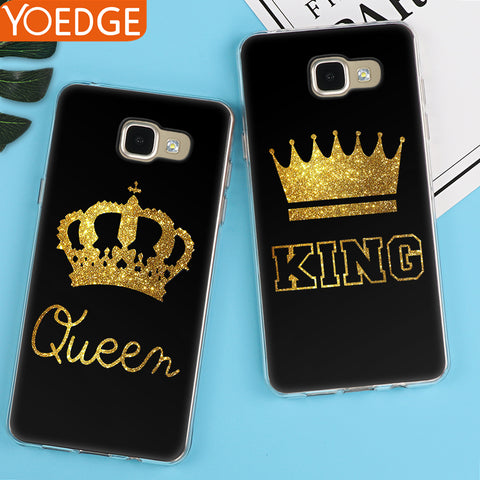King Queen Case For Samsung Galaxy S5 S6 S7 Edge S8 S9 Plus A3 A5 A6 A8 J2 J3 J5 J7  Note 8