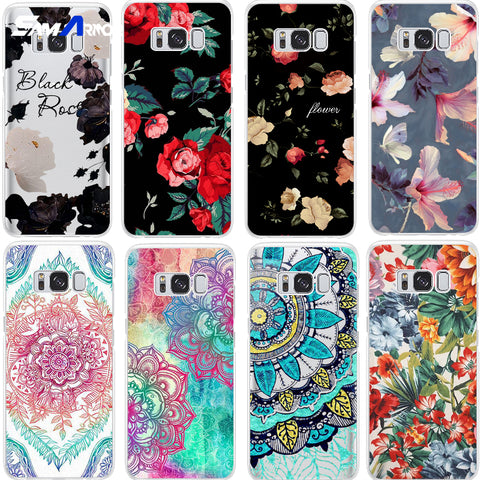 Black White Red Flower Case For Samsung Galaxy Note 8 S5 S6 S7 Edge S8 S9 Plus A3 A5 A8