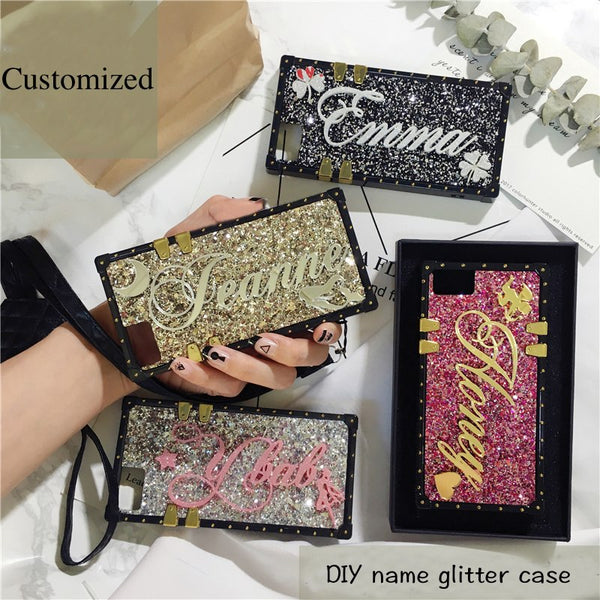 Unique Custom name letter sparkle Shining lanyard square phone case for iPhone 6 6s 7 8 plus X for Samsung galaxy s8 s9 plus