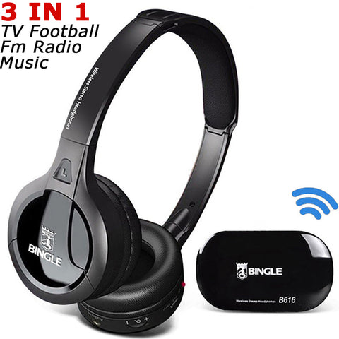 Cordless Headphone Wireless Headset For TV Audio Player CD VCD With FM Radio