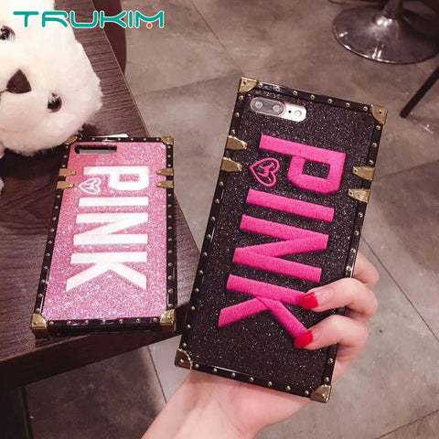 3D Pink Letter Case for iPhone 6 6s plus 7 7plus 8 8 plus X XR XS MAX