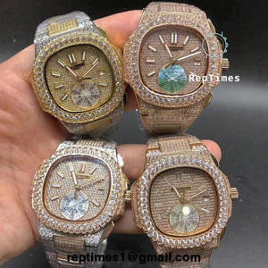 **BIG DIAMOND BEZEL**  Iced out Bust down Patek Philippe Nautilus watch NON CHRONO AVAILABLE TOO - RepTimes is the best website to buy the best quality replica fake designer brand swiss movement watches.