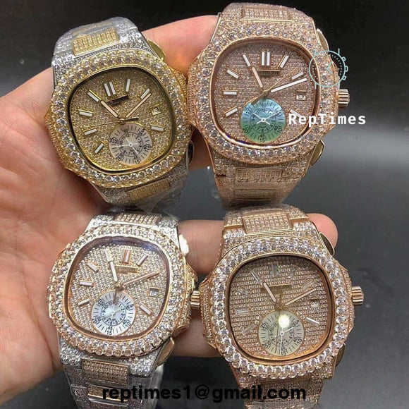 fbe83da4613   BIG DIAMOND BEZEL   Iced out Bust down Patek Philippe Nautilus watch NON
