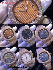 BIG DIAMOND BEZEL Iced out rose gold bust down Replica Patek philippe nautilus men watch - RepTimes is the best website to buy the best quality replica fake designer brand swiss movement watches.