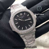 BIG DIAMOND BEZEL Iced out Silver bust down Replica Patek philippe nautilus men watch - RepTimes is the best website to buy the best quality replica fake designer brand swiss movement watches.