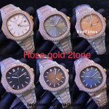 BIG DIAMOND BEZEL Iced out Two tone rose gold bust down Replica Patek philippe nautilus men watch - RepTimes is the best website to buy the best quality replica fake designer brand swiss movement watches.