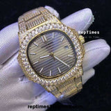 BIG DIAMOND BEZEL Iced out  yellow gold bust down Replica Patek philippe nautilus men watch - RepTimes is the best website to buy the best quality replica fake designer brand swiss movement watches.