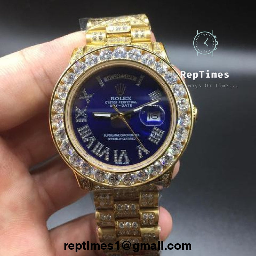 Rolex Out Date Replica Bands Iced Buss Moissanite Down Bezel And Day D