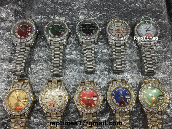 BUSS DOWN iced out Bezel and Bands replica rolex day date  moissanite  diamond watch (select dial color and bands) - RepTimes is the best website to buy the best quality replica fake designer brand swiss movement watches.