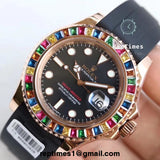 Colorful rainbow icedout bezel replica rolex yacht-master 2 men watch - RepTimes is the best website to buy the best quality replica fake designer brand swiss movement watches.