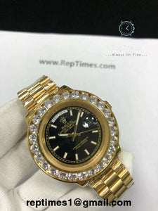 Day Date replica Rolex men watch with iced out bezel - RepTimes is the best website to buy the best quality replica fake designer brand swiss movement watches.
