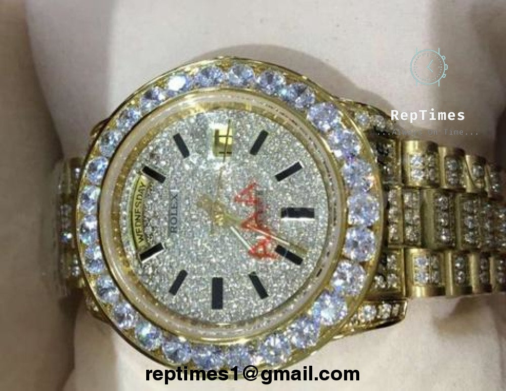 ca7dced63f84df ... FULLY iced out replica rolex day date moissanite diamond watch -  RepTimes is the best website ...