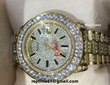 FULLY iced out replica rolex day date  moissanite  diamond watch - RepTimes is the best website to buy the best quality replica fake designer brand swiss movement watches.