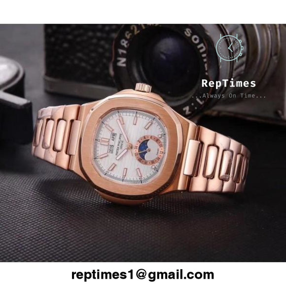 Gold plain jane patek philippe replica mens watch with moon phase chronograph - RepTimes is the best website to buy the best quality replica fake designer brand swiss movement watches.
