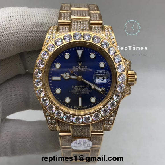 High quality clone Replica rolex submariner diamond bezel (No diamond on face/dial)) - RepTimes is the best website to buy the best quality replica fake designer brand swiss movement watches.