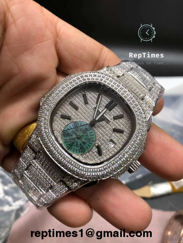 a6a922c392e ... High Quality iced out Replica Patek Philippe Nautilus Watch With  Chronograph - RepTimes is the best ...
