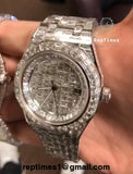 High quality replica Audemars Piguet Royal Oak Stainless Steel Baguette Diamond Iced-Out Diamond Encrusted - RepTimes is the best website to buy the best quality replica fake designer brand swiss movement watches.