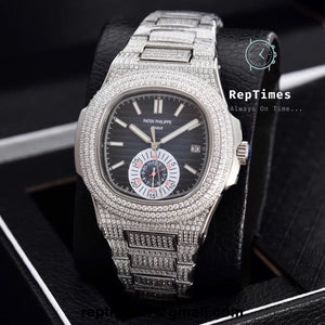 Iced out bands patek Philippe nautilus replica watch - RepTimes is the best website to buy the best quality replica fake designer brand swiss movement watches.