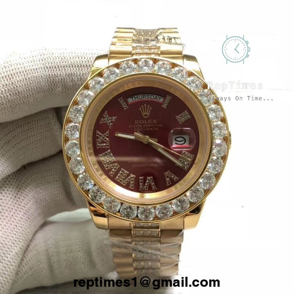 iced out Bezel and Bands and Diamond in middle replica rolex day date moissanite diamond watch (select dial color and bands) - RepTimes is the best website to buy the best quality replica fake designer brand swiss movement watches.