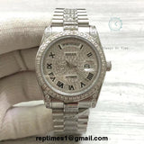 ICED OUT BEZEL and dial Replica Rolex DATE DATE 36mm Watch (Diamond in middle of bands) - RepTimes is the best website to buy the best quality replica fake designer brand swiss movement watches.