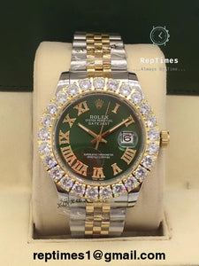 ICED OUT BEZEL Replica Rolex DATE JUST Watch - RepTimes is the best website to buy the best quality replica fake designer brand swiss movement watches.